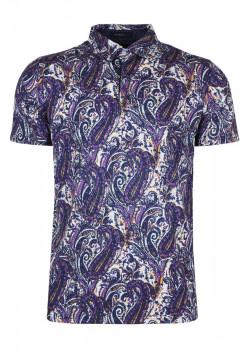Мужское поло с узором пейсли - Purple / White