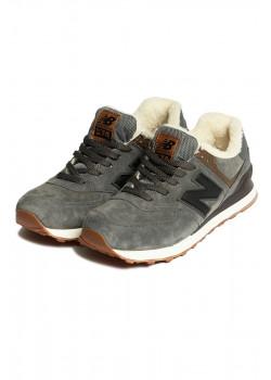 Зимние кроссовки с мехом 574 - Grey / Gum