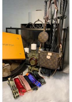 Брендовая кожаная сумка - Brown / Green