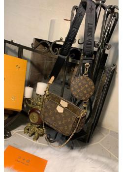 Брендовая кожаная сумка - Brown / Black