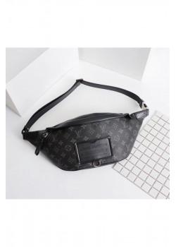 Кожаная сумка на пояс 30x18 см - Black