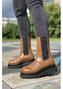 Кожаные сапоги - Brown