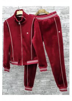 Утеплённый бархатный костюм  - Red