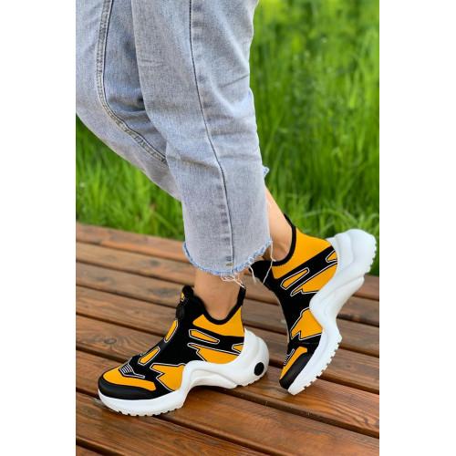 Женские брендовые кроссовки - Yellow / Black