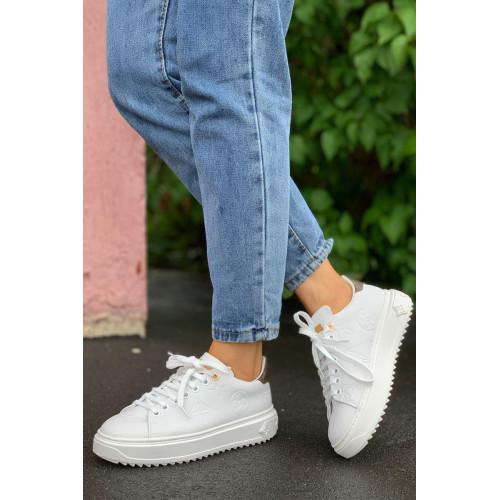 Брендовые кожаные кроссовки - White / Brown