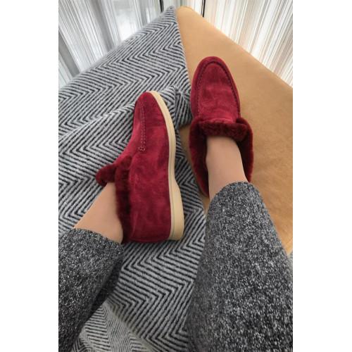 Женские ботинки с мехом - Burgundy