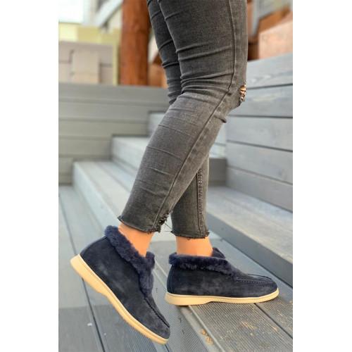 Женские ботинки с мехом - Navy