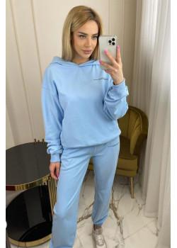 Брендовый женский костюм голубого цвета