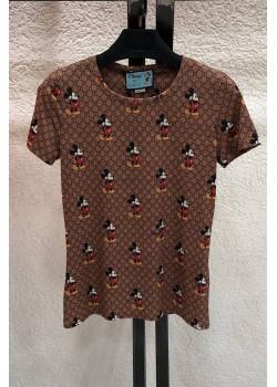 "Брендовая женская футболка ""Mickey"" - Brown"