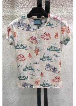 """Брендовая женская футболка """"Mickey and Minnie"""" - Beige"""
