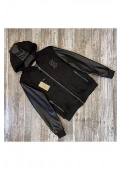 Мужская чёрная куртка с капюшоном