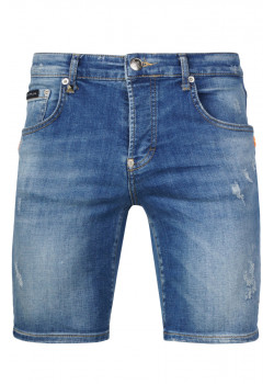 Джинсовые шорты - Blue / Orange
