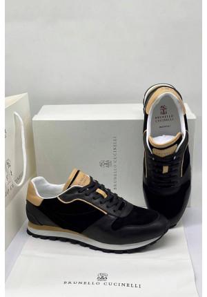 Мужские чёрные кроссовки Brunello Cucinelli