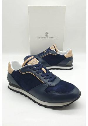 Мужские тёмно-синие кроссовки Brunello Cucinelli