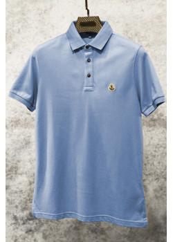 Мужское брендовое поло голубого цвета