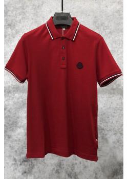 Мужское брендовое поло красного цвета