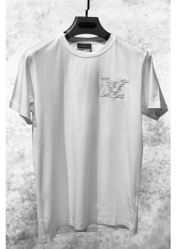Белая мужская футболка с вышитым логотипом