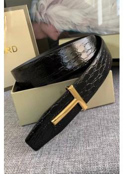 Кожаный чёрный ремень Tom Ford