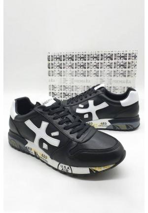 Мужские кожаные кроссовки 483 - Black