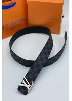 Кожаный брендовый ремень - Black / Silver