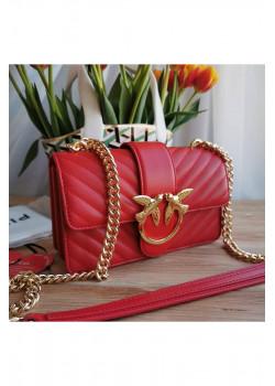 Кожаная сумка 27x17 см - Red