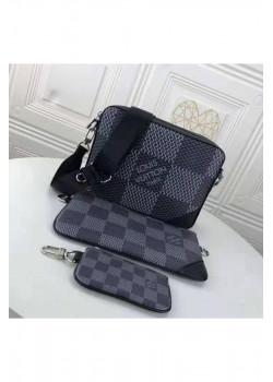 Брендовая кожаная сумка 25x18 см - Black / Grey