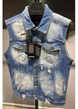 Мужская джинсовая безрукавка