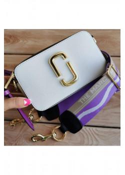 Кожаная сумка 25x16 см - White / Purple