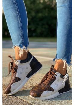 Женские брендовые кроссовки - Brown / White