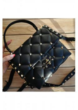 Кожаная чёрная сумка 25x19 см