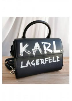 Брендовая кожаная сумка 23x17 см - Black