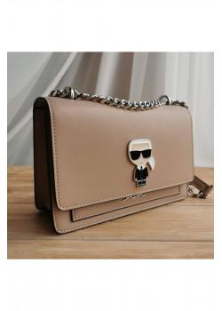 Брендовая кожаная сумка 22x16 см - Beige