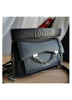 Брендовая кожаная сумка 21x15 см - Black