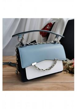 Брендовая кожаная сумка 21x15 см - Blue / White