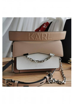 Брендовая кожаная сумка 21x15 см - Beige / White