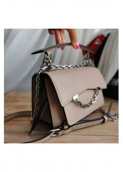 Брендовая кожаная сумка 21x15 см - Beige