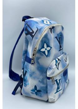 Брендовый кожаный рюкзак 36x30 см - Blue / White