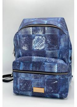 Брендовый кожаный рюкзак 36x30 см - Blue