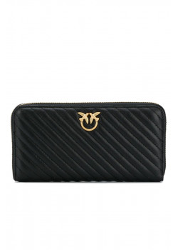 Стеганый кожаный кошелёк 20x11 см - Black