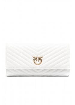Стеганый кожаный кошелёк 20x11 см - White