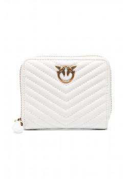 Стеганый кожаный кошелёк Taylor 13x11 см - White