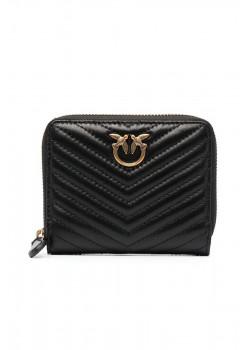 Стеганый кожаный кошелёк Taylor 13x11 см - Black