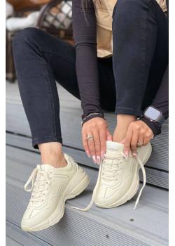 Брендовые кожаные кроссовки бежевого цвета