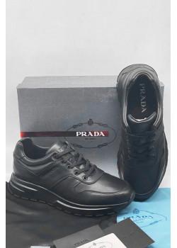 Мужские кожаные кроссовки чёрного цвета