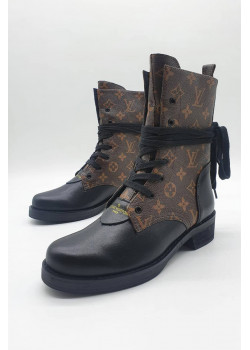 Женские кожаные ботинки - Brown / Black