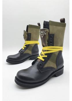 Женские кожаные ботинки - Black / Green