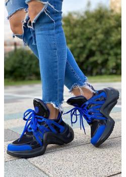 Брендовые кожаные кроссовки Archlight - Black / Blue