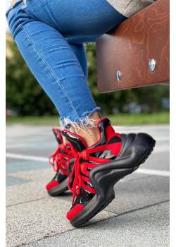 Брендовые кожаные кроссовки Archlight - Black / Red