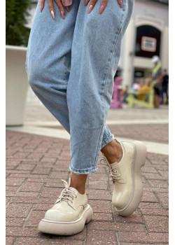 Кожаные ботинки бежевого цвета