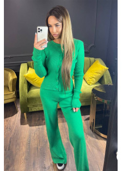 Классический женский костюм зелёного цвета